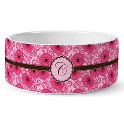 Gerbera Daisy Ceramic Dog Bowl (Personalized)