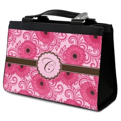 Gerbera Daisy Classic Tote Purse w/ Leather Trim w/ Initial