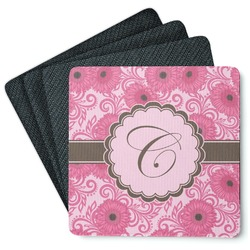 Gerbera Daisy 4 Square Coasters - Rubber Backed (Personalized)