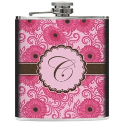 Gerbera Daisy Genuine Leather Flask (Personalized)
