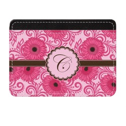 Gerbera Daisy Genuine Leather Front Pocket Wallet (Personalized)