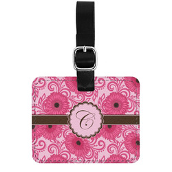 Gerbera Daisy Genuine Leather Luggage Tag w/ Initial