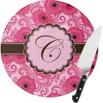 Gerbera Daisy Round Glass Cutting Board (Personalized)