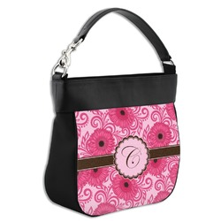 Gerbera Daisy Hobo Purse w/ Genuine Leather Trim (Personalized)