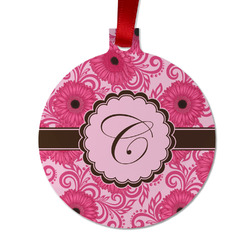 Gerbera Daisy Metal Ornaments - Double Sided w/ Initial
