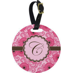 Gerbera Daisy Round Luggage Tag (Personalized)