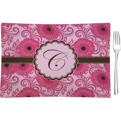 Gerbera Daisy Rectangular Glass Appetizer / Dessert Plate - Single or Set (Personalized)