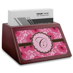 Gerbera Daisy Red Mahogany Business Card Holder (Personalized)