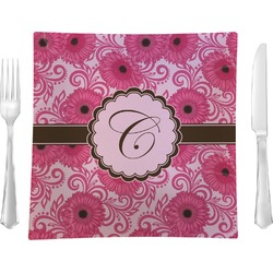 """Gerbera Daisy 9.5"""" Glass Square Lunch / Dinner Plate- Single or Set of 4 (Personalized)"""