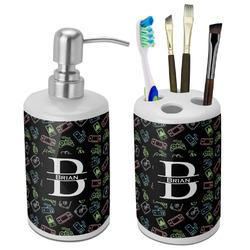 Video Game Ceramic Bathroom Accessories Set (Personalized)