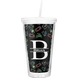 Video Game Double Wall Tumbler with Straw (Personalized)