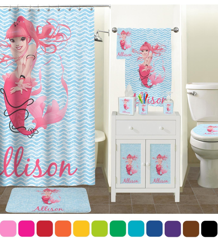 Mermaid bathroom decor -  Mermaid Bathroom Scene Custom Bathroom Decor