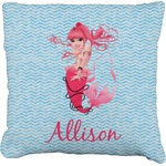 Mermaid Faux-Linen Throw Pillow (Personalized)