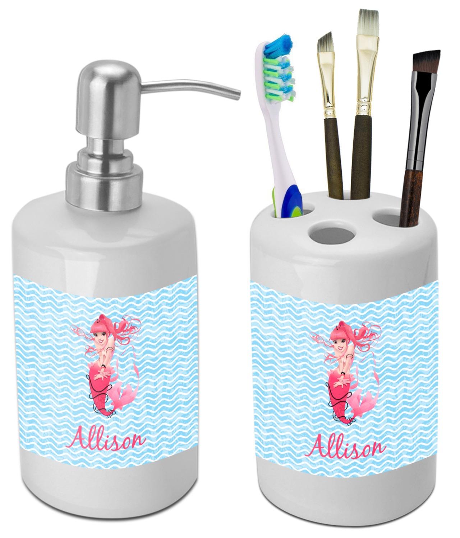 Etonnant Mermaid Bathroom Accessories Set (Ceramic) (Personalized)