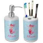 Mermaid Bathroom Accessories Set (Ceramic) (Personalized)