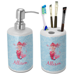 Mermaid Bathroom Accessories Set (Ceramic) (Personalized)
