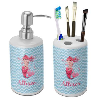 Mermaid Ceramic Bathroom Accessories Set (Personalized)
