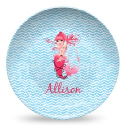 Mermaid Microwave Safe Plastic Plate - Composite Polymer (Personalized)