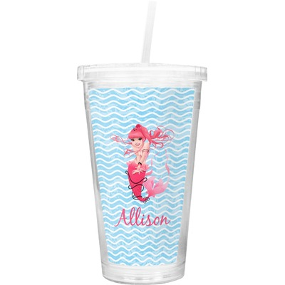 Mermaid Double Wall Tumbler with Straw (Personalized)