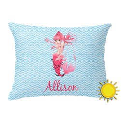 Mermaid Outdoor Throw Pillow (Rectangular) (Personalized)