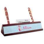 Mermaid Red Mahogany Nameplate with Business Card Holder (Personalized)