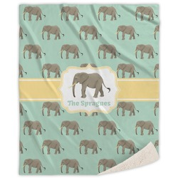Elephant Sherpa Throw Blanket (Personalized)