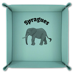 Elephant Teal Faux Leather Valet Tray (Personalized)