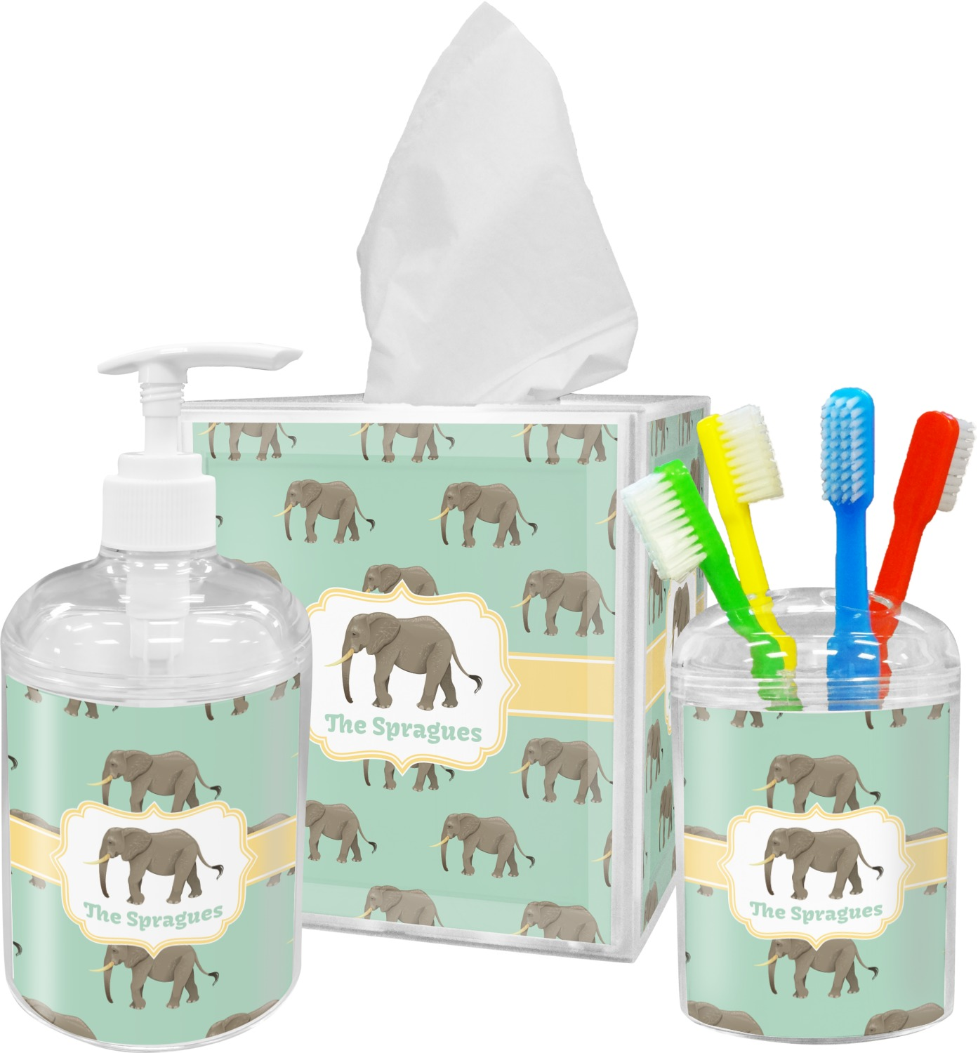 Elephant bathroom accessories set personalized - Monogrammed bathroom accessories ...