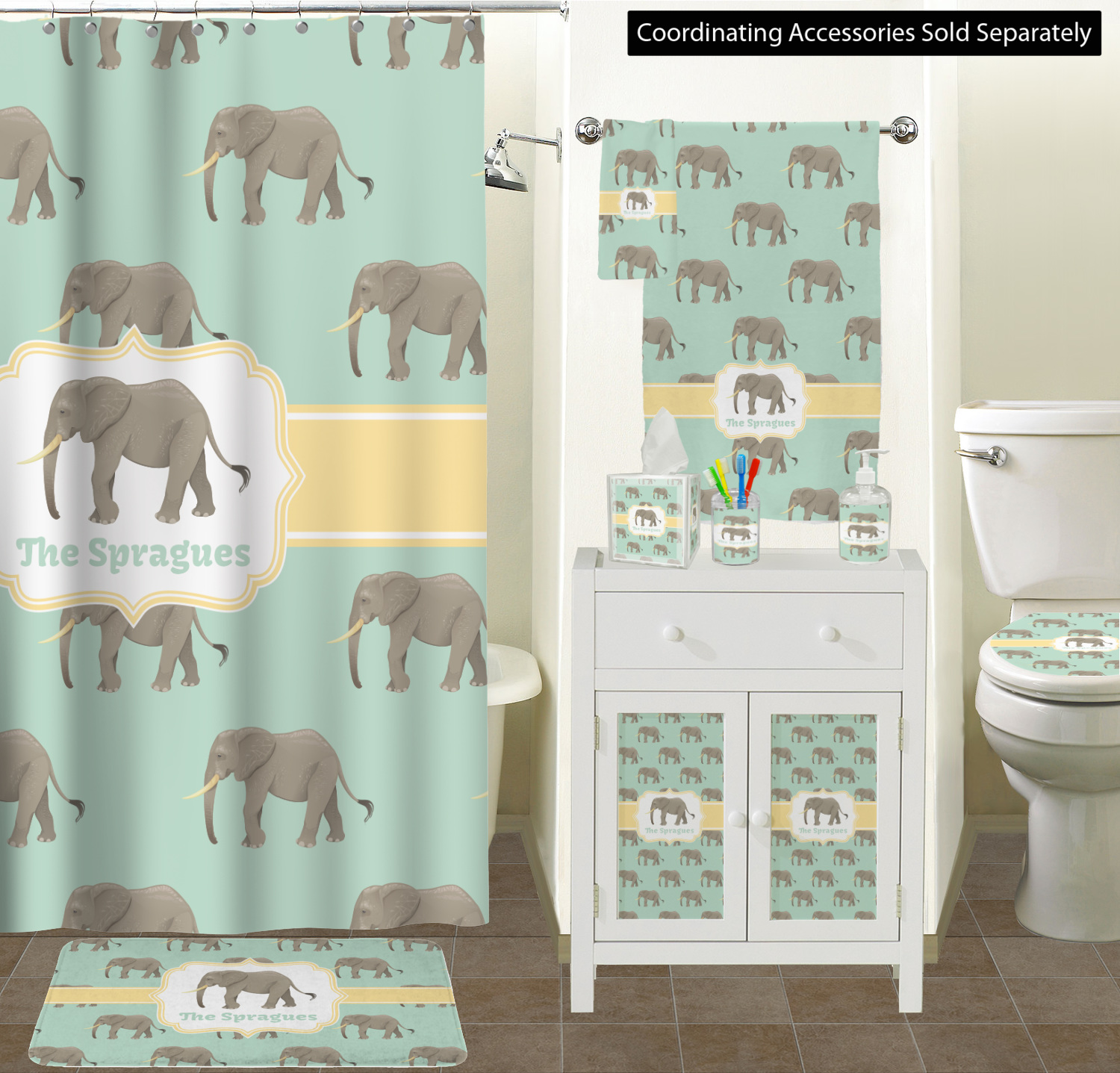 Elephant Ceramic Bathroom Accessories Elephant Bathroom Scene ...