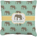 Elephant Faux-Linen Throw Pillow (Personalized)