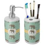 Elephant Ceramic Bathroom Accessories Set (Personalized)
