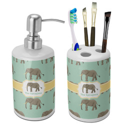 Elephant Bathroom Accessories Set (Ceramic) (Personalized)