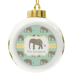 Elephant Ceramic Ball Ornament (Personalized)