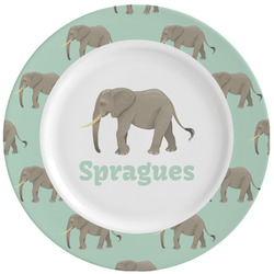 Elephant Ceramic Dinner Plates (Set of 4) (Personalized)