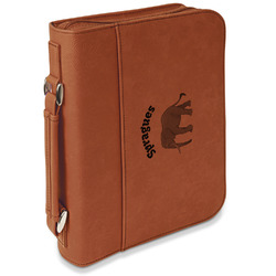 Elephant Leatherette Bible Cover with Handle & Zipper - Large- Single Sided (Personalized)