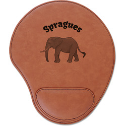 Elephant Leatherette Mouse Pad with Wrist Support (Personalized)