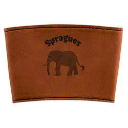 Elephant Leatherette Cup Sleeve (Personalized)