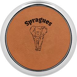 Elephant Leatherette Round Coaster w/ Silver Edge - Single or Set (Personalized)