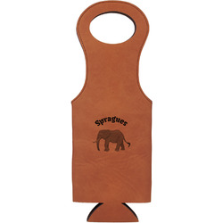 Elephant Leatherette Wine Tote (Personalized)