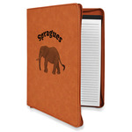 Elephant Leatherette Zipper Portfolio with Notepad (Personalized)