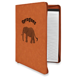 Elephant Leatherette Zipper Portfolio with Notepad (Personalized)
