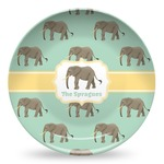 Elephant Microwave Safe Plastic Plate - Composite Polymer (Personalized)