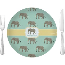 "Elephant Glass Lunch / Dinner Plates 10"" - Single or Set (Personalized)"