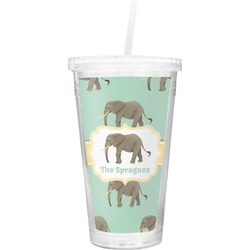 Elephant Double Wall Tumbler with Straw (Personalized)