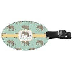 Elephant Genuine Leather Oval Luggage Tag (Personalized)