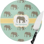Elephant Round Glass Cutting Board (Personalized)