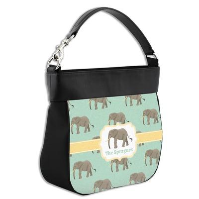 Elephant Hobo Purse w/ Genuine Leather Trim w/ Name or Text