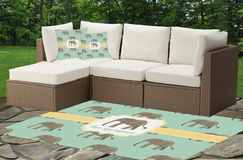 Elephant Indoor Outdoor Rug Custom Patio Accessories Cushions