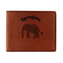 Elephant Leatherette Bifold Wallet (Personalized)