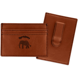 Elephant Leatherette Wallet with Money Clip (Personalized)